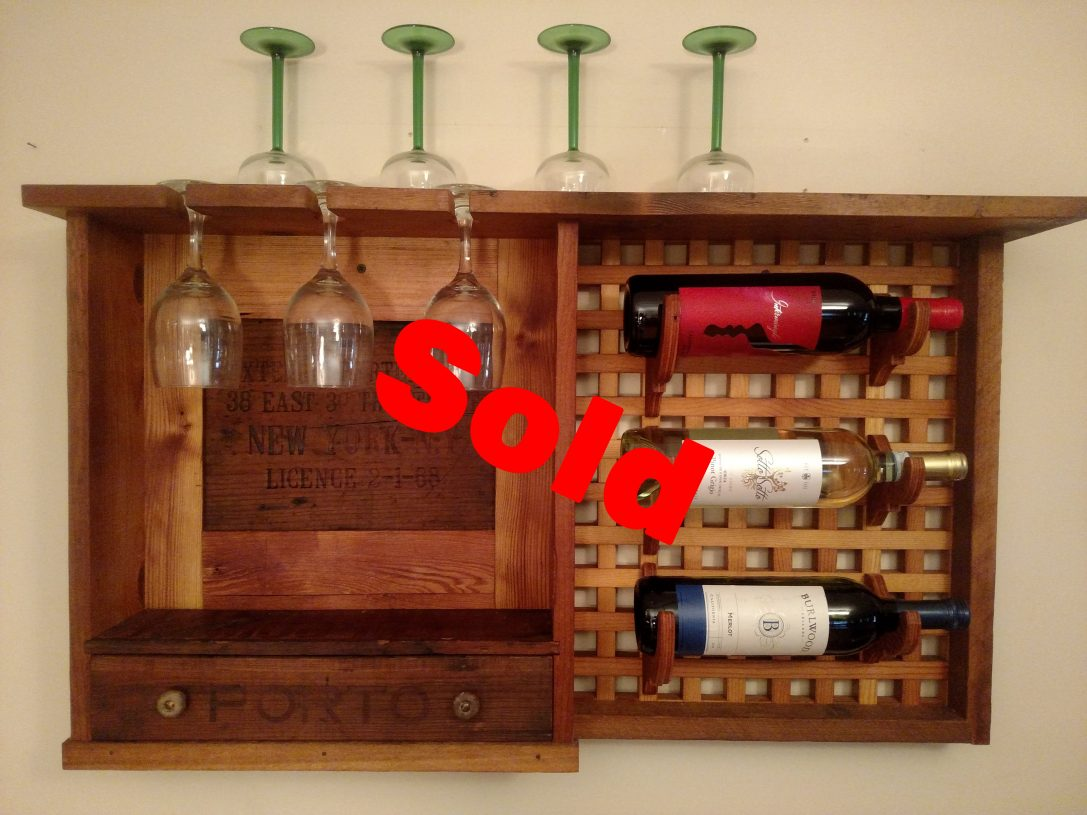 Re-Purposed Wine Rack Wall Unit with Drawer (2) $1100.00